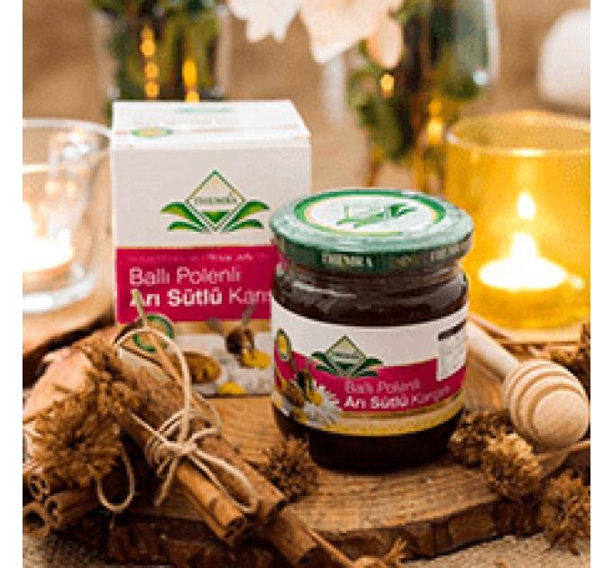 Смесь мёда с маточным молочком и цветочной пыльцой
